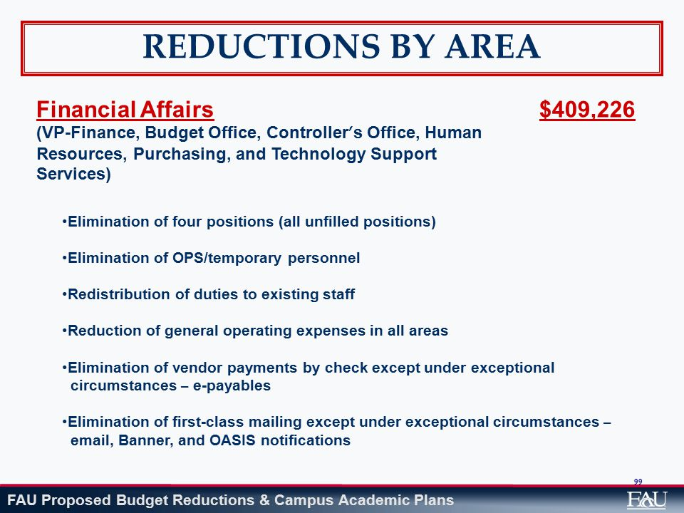 FAU Proposed Budget Reductions & Campus Academic Plans 99 REDUCTIONS BY AREA Financial Affairs (VP-Finance, Budget Office, Controller ' s Office, Human Resources, Purchasing, and Technology Support Services) $409,226 Elimination of four positions (all unfilled positions) Elimination of OPS/temporary personnel Redistribution of duties to existing staff Reduction of general operating expenses in all areas Elimination of vendor payments by check except under exceptional circumstances – e-payables Elimination of first-class mailing except under exceptional circumstances – email, Banner, and OASIS notifications