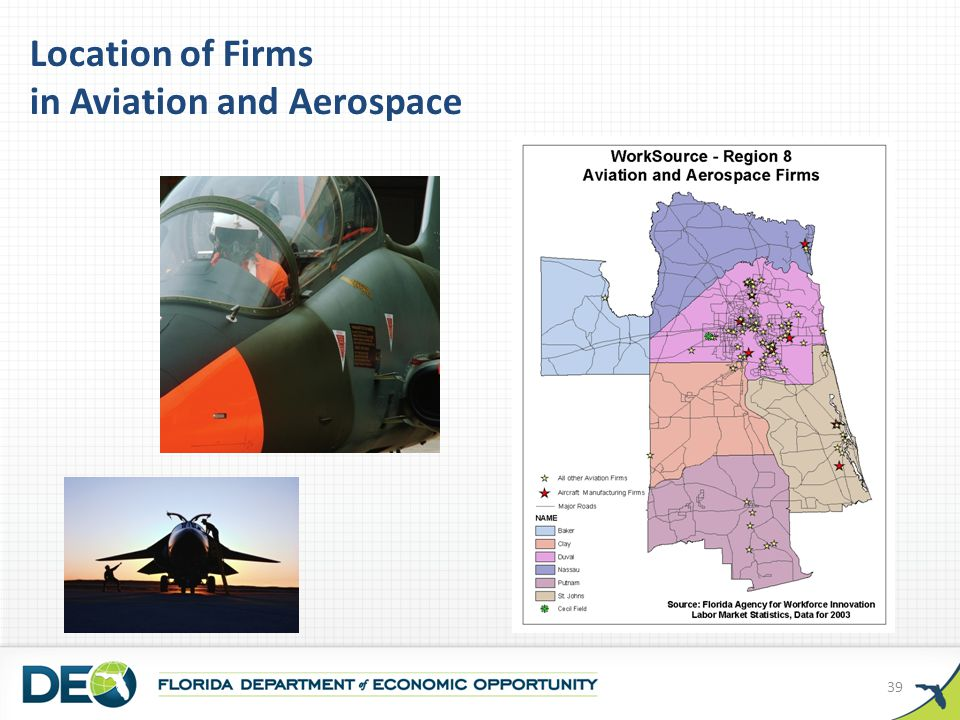 Location of Firms in Aviation and Aerospace 39