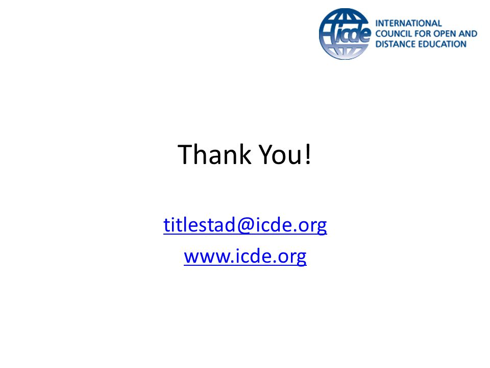 Thank You! titlestad@icde.org www.icde.org