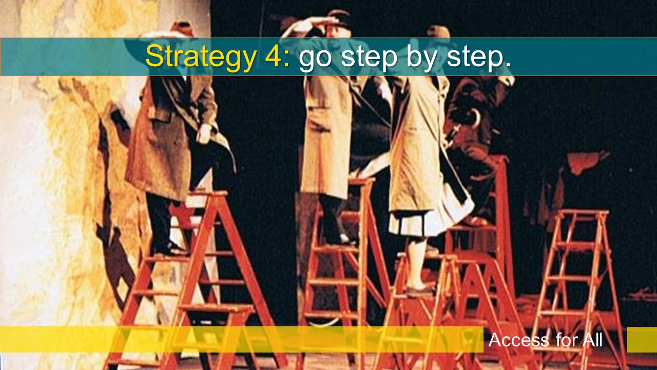 Strategy 4: go step by step. Access for All