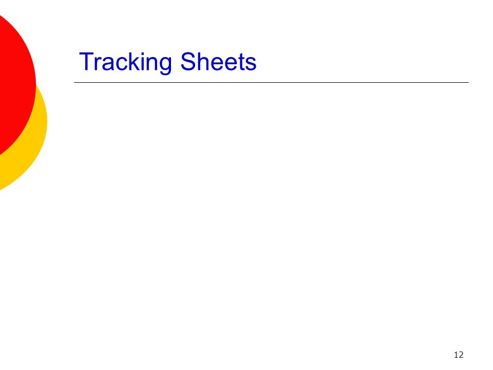 12 Tracking Sheets