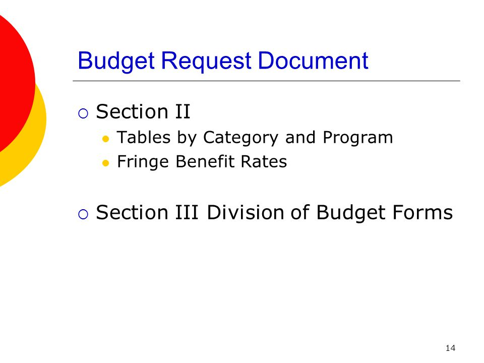 14 Budget Request Document  Section II Tables by Category and Program Fringe Benefit Rates  Section III Division of Budget Forms