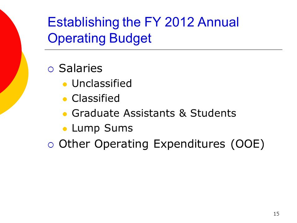 15 Establishing the FY 2012 Annual Operating Budget  Salaries Unclassified Classified Graduate Assistants & Students Lump Sums  Other Operating Expenditures (OOE)