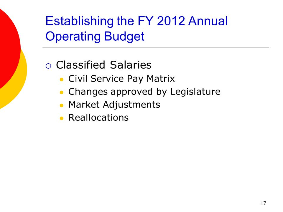 17 Establishing the FY 2012 Annual Operating Budget  Classified Salaries Civil Service Pay Matrix Changes approved by Legislature Market Adjustments Reallocations