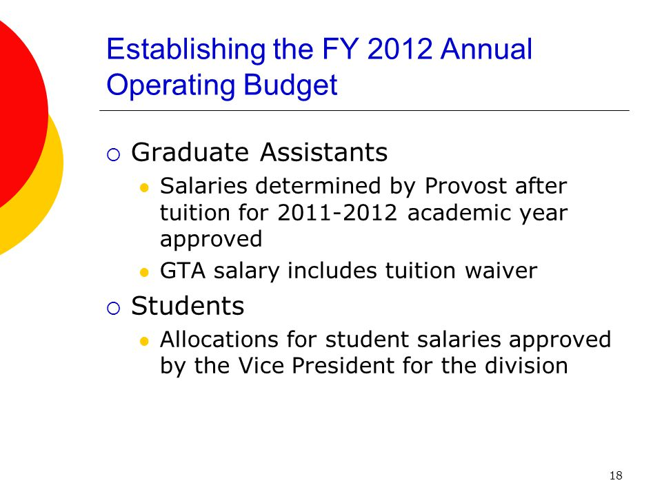 19 Establishing the FY 2012 Annual Operating Budget  Lump Sum Temporary Salaries (Classified & Unclassified) SF1,CIT,CIP,Reserves  Fringe Rates applied to all Salaries
