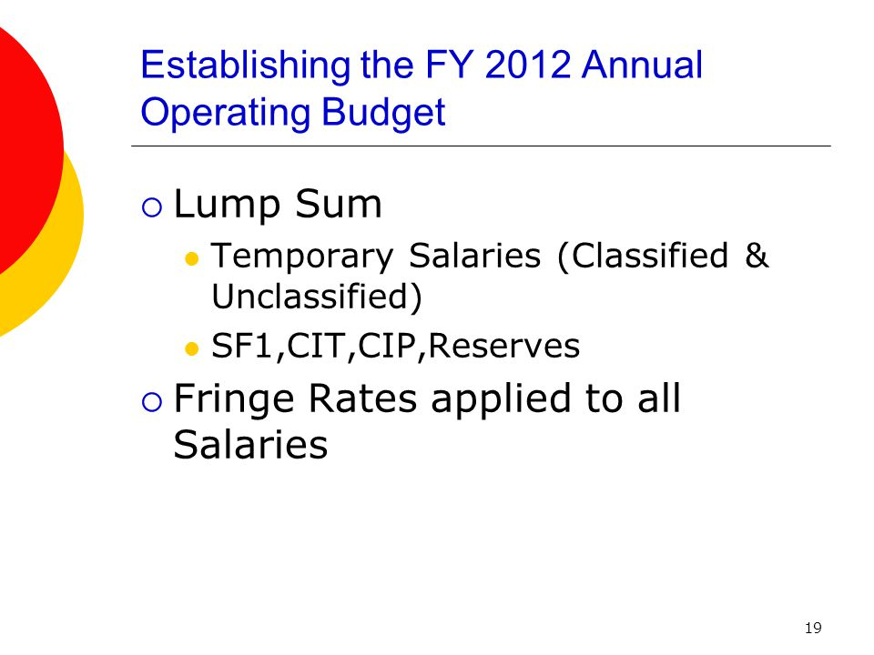 20 Establishing the FY 2012 Annual Operating Budget  Other Operating Expenditures Allocations approved by the Vice President for the division  Balance to Tracking Sheet  Opening Journal Entries / Allocations prior to July 1, 2011  FY 2012 starts on July 1, 2011