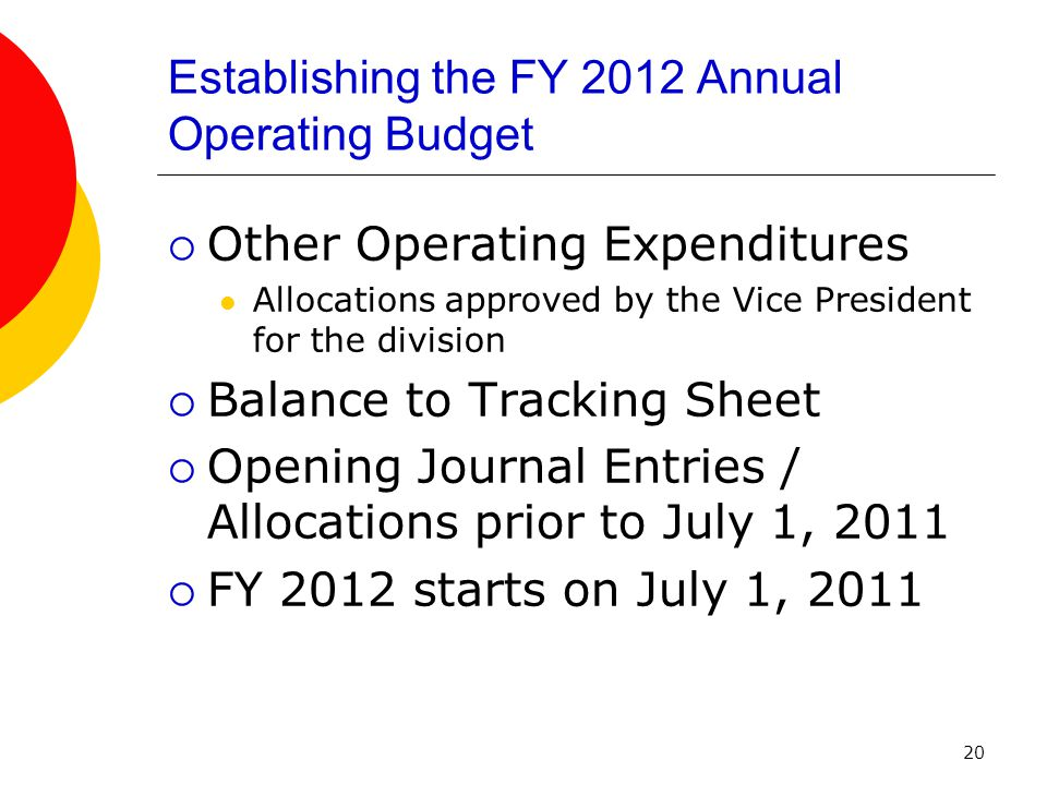 20 Establishing the FY 2012 Annual Operating Budget  Other Operating Expenditures Allocations approved by the Vice President for the division  Balance to Tracking Sheet  Opening Journal Entries / Allocations prior to July 1, 2011  FY 2012 starts on July 1, 2011