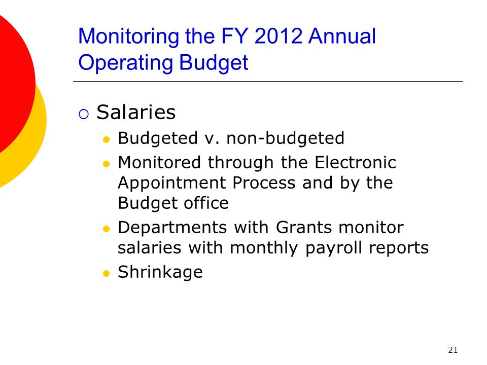 21 Monitoring the FY 2012 Annual Operating Budget  Salaries Budgeted v.