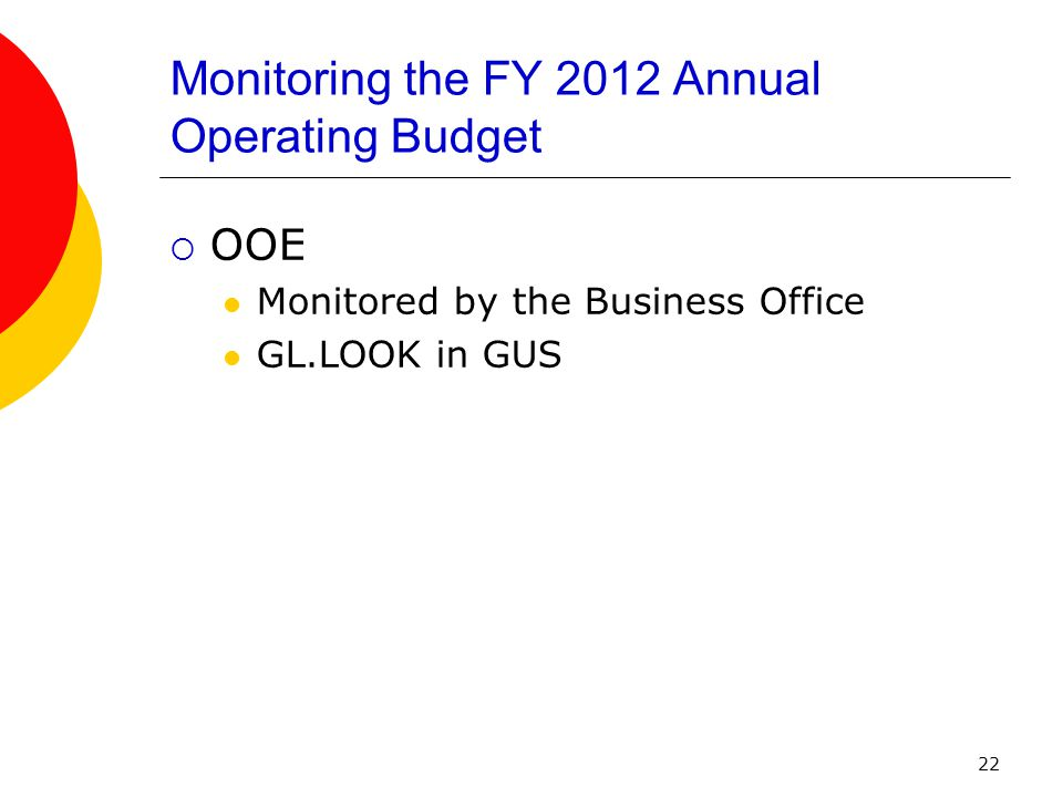 22 Monitoring the FY 2012 Annual Operating Budget  OOE Monitored by the Business Office GL.LOOK in GUS