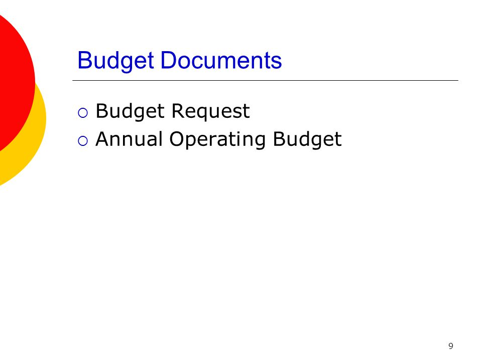 9 Budget Documents  Budget Request  Annual Operating Budget