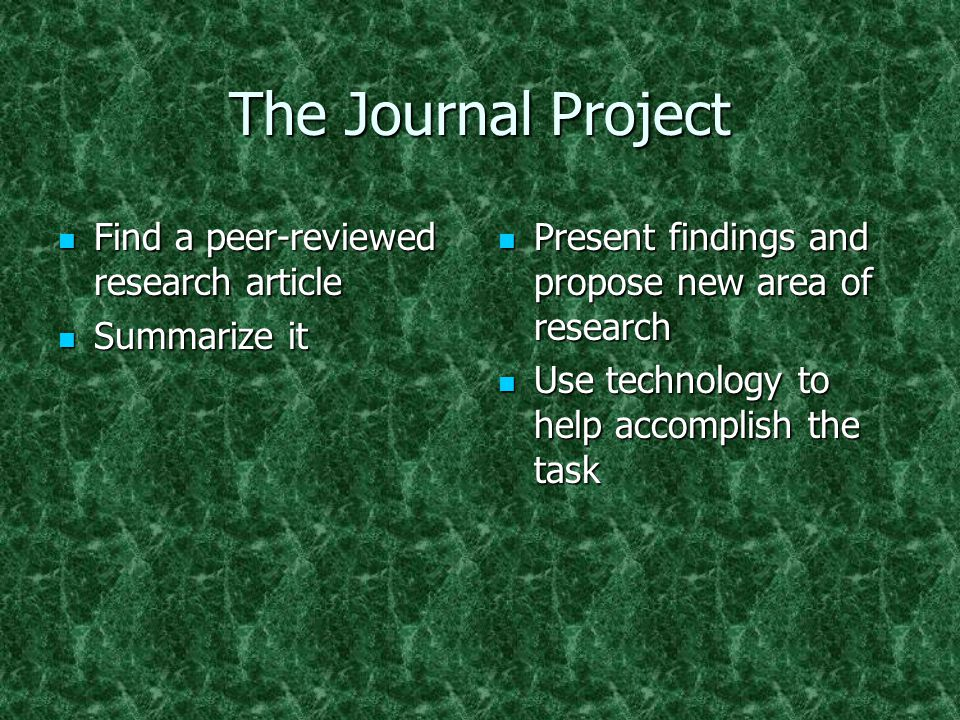 The Journal Project Find a peer-reviewed research article Find a peer-reviewed research article Summarize it Summarize it Present findings and propose