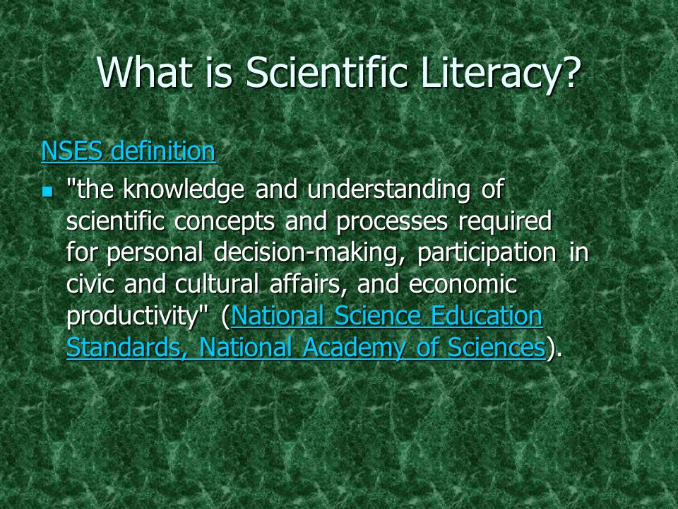 What is Scientific Literacy.