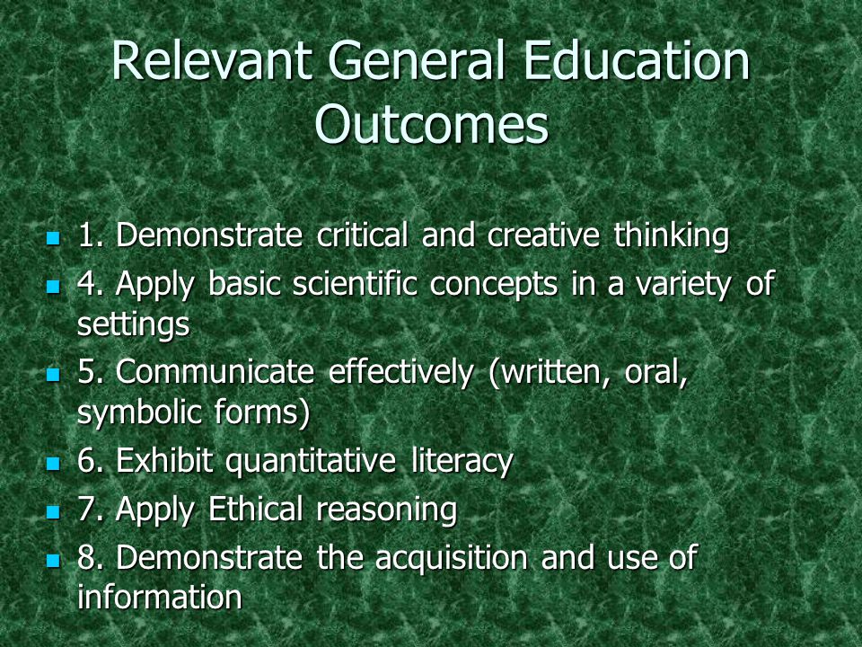 Relevant General Education Outcomes 1. Demonstrate critical and creative thinking 1.