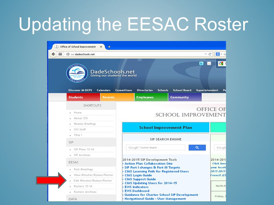 Updating the EESAC Roster