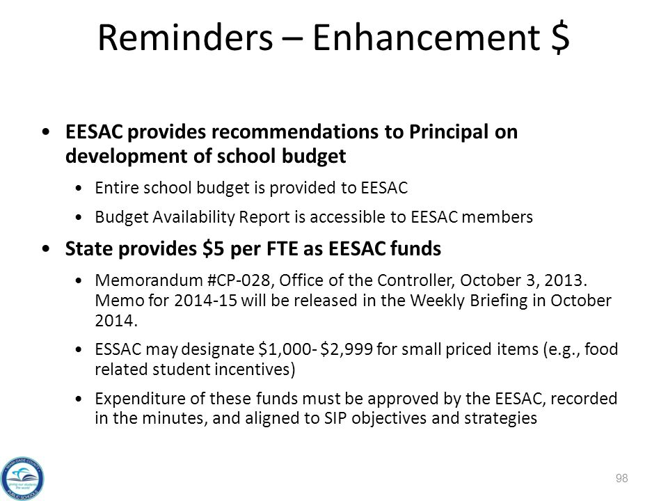 Reminders – Enhancement $ 98 EESAC provides recommendations to Principal on development of school budget Entire school budget is provided to EESAC Budget Availability Report is accessible to EESAC members State provides $5 per FTE as EESAC funds Memorandum #CP-028, Office of the Controller, October 3, 2013.