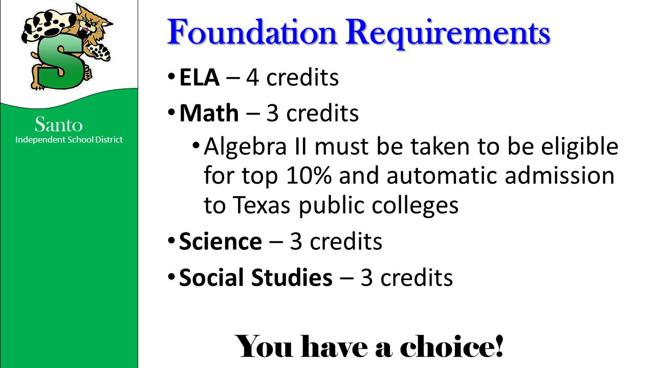 Independent School District You have a choice! Santo Foundation Requirements ELA – 4 credits Math – 3 credits Algebra II must be taken to be eligible