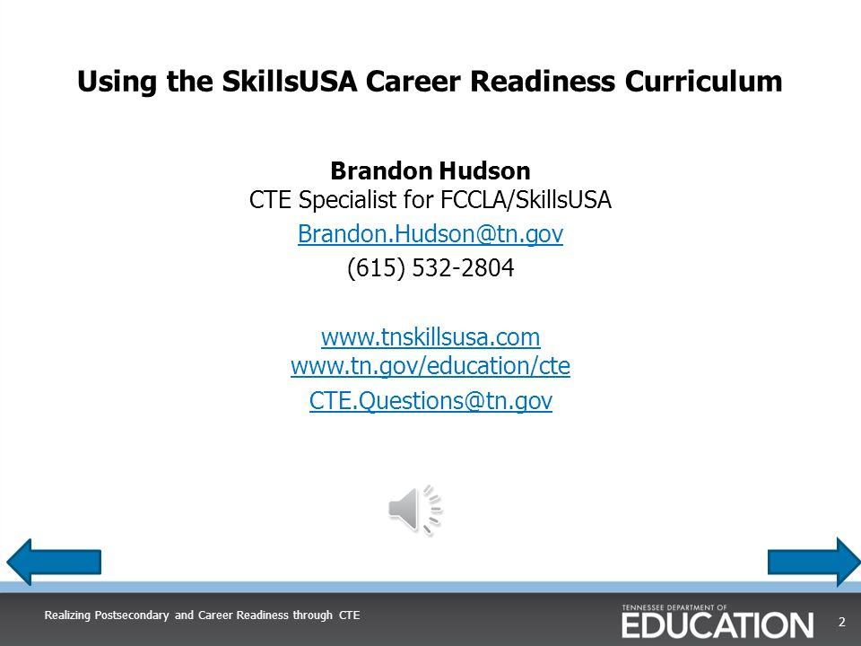 Using the SkillsUSA Career Readiness CurriculumUsing the SkillsUSA Career Readiness Curriculum Please click the play button under the image of the speaker below to listen to the presentation.