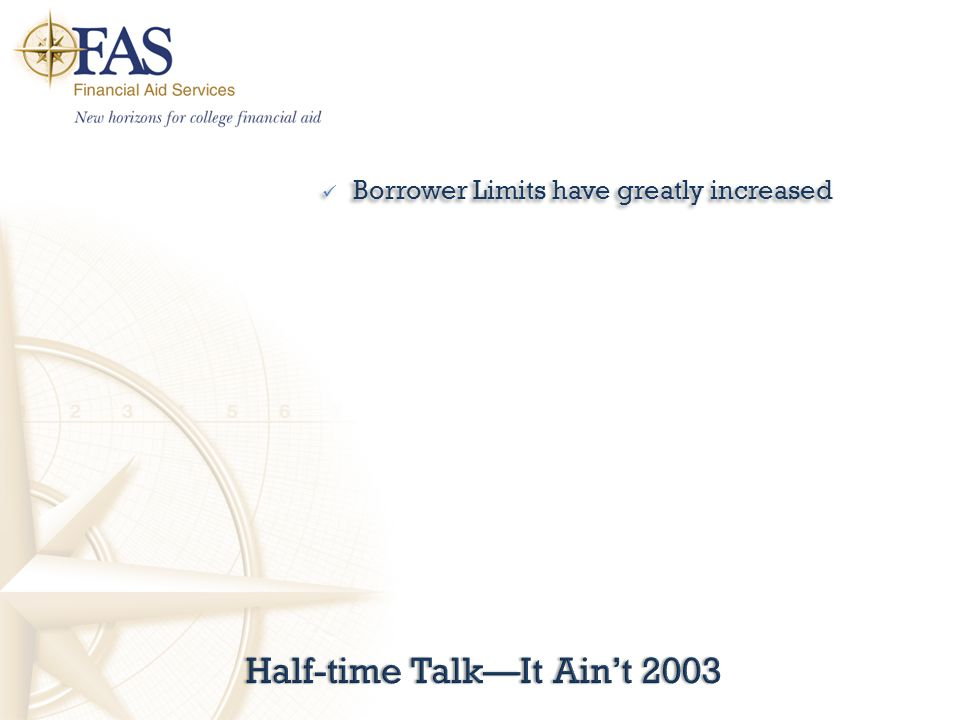 Half-time Talk—It Ain't 2003Half-time Talk—It Ain't 2003 Borrower Limits have greatly increased Borrower Limits have greatly increased