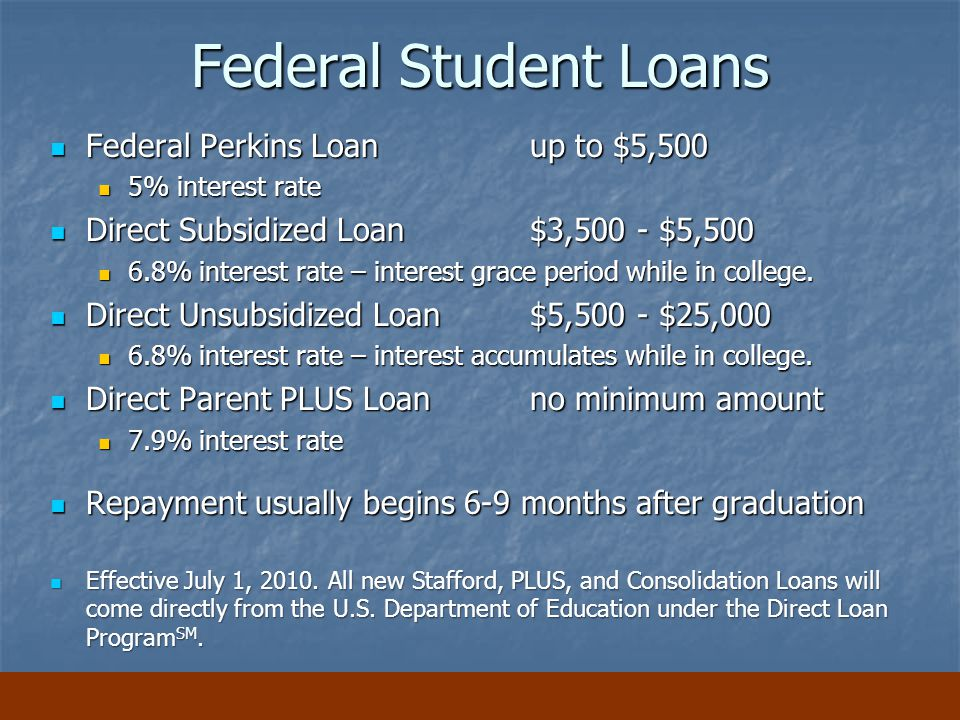 Federal Student Loans Federal Perkins Loan up to $5,500 Federal Perkins Loan up to $5,500 5% interest rate 5% interest rate Direct Subsidized Loan $3,500 - $5,500 Direct Subsidized Loan $3,500 - $5,500 6.8% interest rate – interest grace period while in college.