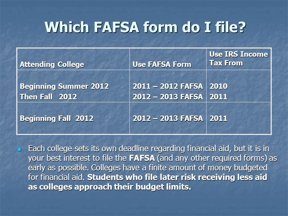 Which FAFSA form do I file.