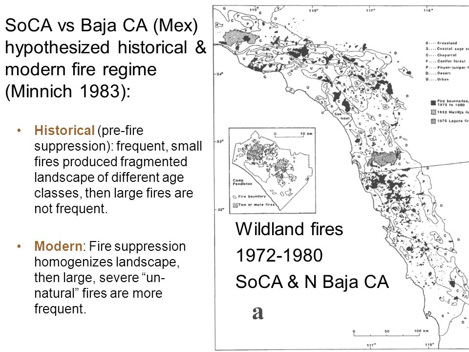 SoCA vs Baja CA (Mex) hypothesized historical & modern fire regime (Minnich 1983): Historical (pre-fire suppression): frequent, small fires produced f