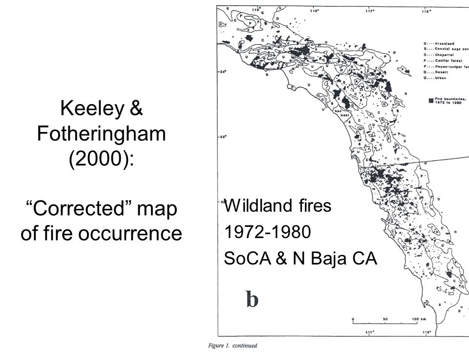Keeley & Fotheringham (2000): Corrected map of fire occurrence Wildland fires 1972-1980 SoCA & N Baja CA