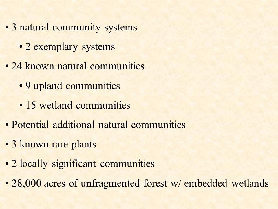 3 natural community systems 2 exemplary systems 24 known natural communities 9 upland communities 15 wetland communities Potential additional natural communities 3 known rare plants 2 locally significant communities 28,000 acres of unfragmented forest w/ embedded wetlands