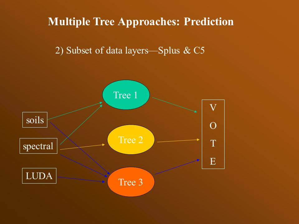 Multiple Tree Approaches: Prediction 1)Bagging (bootstrap sampling of training data)--Splus & C5 2)Subset data layers—Splus & C5 3)Boosting * – C5
