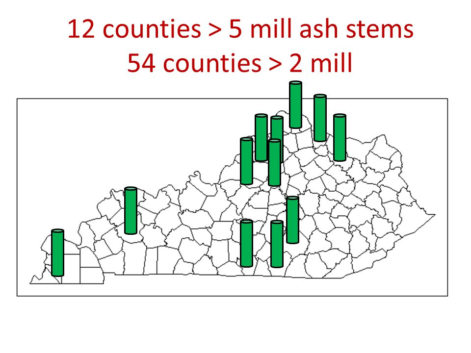 12 counties > 5 mill ash stems 54 counties > 2 mill