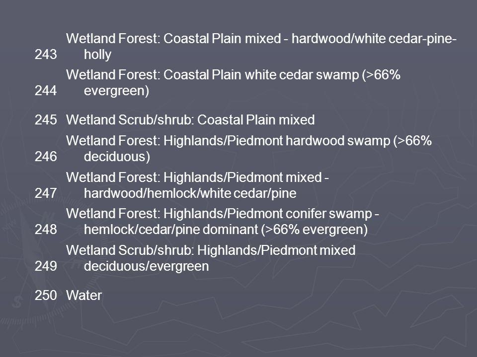 151 Upland Scrub/Shrub: Coastal Plain mixed deciduous/coniferous 152 Upland Scrub/Shrub: Coastal Plain mixed deciduous/coniferous - maritime/dune 153 Upland Scrub/Shrub: Highlands/Piedmont mixed deciduous/coniferous 160 Barren soil/rock (sand/gravel pits, barren < 25% vegetation) 200Marine/Estuarine Unconsolidated shore 210Estuarine emergent marsh 230 Riverine/lacustrine/palustrine emergent marsh: mixed species 241 Wetland Forest: Coastal Plain hardwood swamp (>66% deciduous) 242 Wetland Forest: Coastal Plain pine lowland (>66% evergreen)