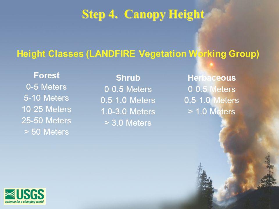 Step 4. Canopy Height Height Classes (LANDFIRE Vegetation Working Group) Forest 0-5 Meters 5-10 Meters 10-25 Meters 25-50 Meters > 50 Meters Shrub 0-0