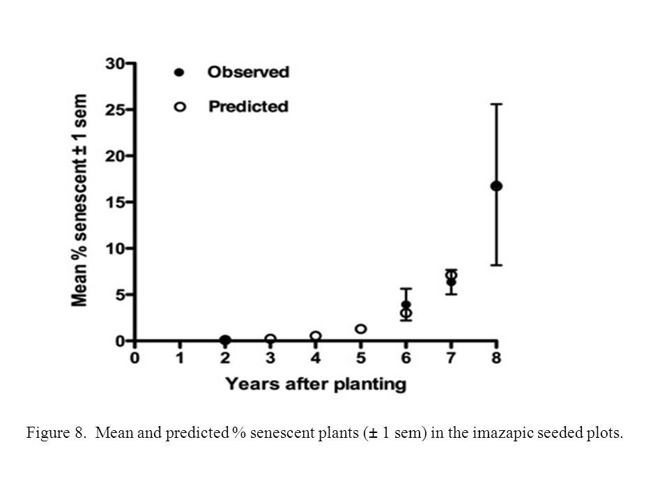 Figure 8. Mean and predicted % senescent plants (± 1 sem) in the imazapic seeded plots.