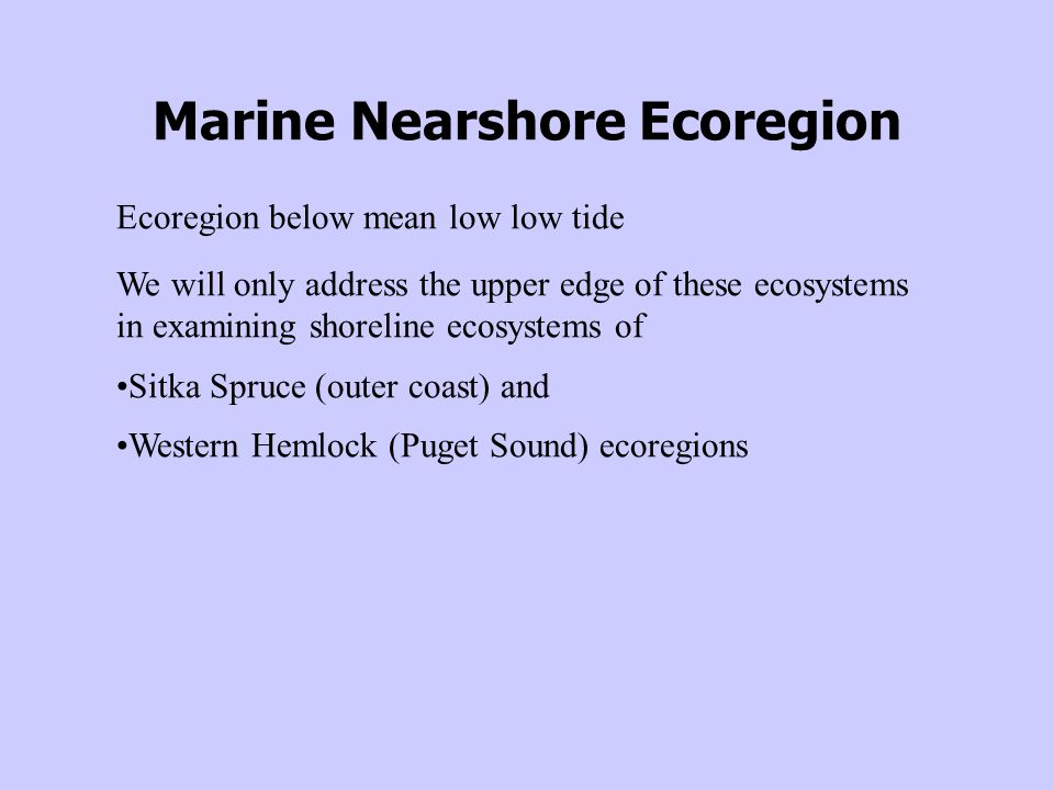 Marine Nearshore Ecoregion Ecoregion below mean low low tide We will only address the upper edge of these ecosystems in examining shoreline ecosystems of Sitka Spruce (outer coast) and Western Hemlock (Puget Sound) ecoregions