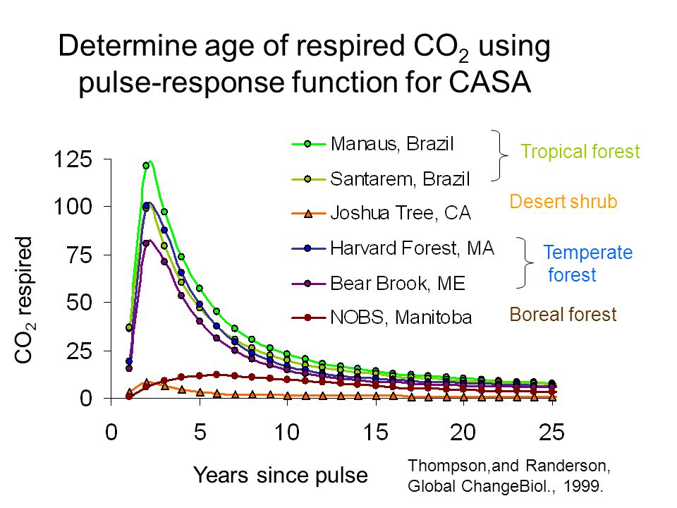 Determine age of respired CO 2 using pulse-response function for CASA Years since pulse CO 2 respired Tropical forest Desert shrub Temperate forest Boreal forest Thompson,and Randerson, Global ChangeBiol., 1999.