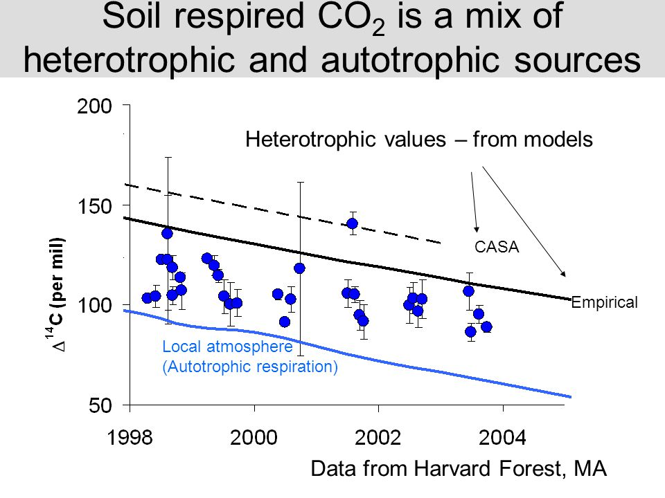 Local atmosphere (Autotrophic respiration) CASA Empirical Soil respired CO 2 is a mix of heterotrophic and autotrophic sources Data from Harvard Forest, MA Heterotrophic values – from models