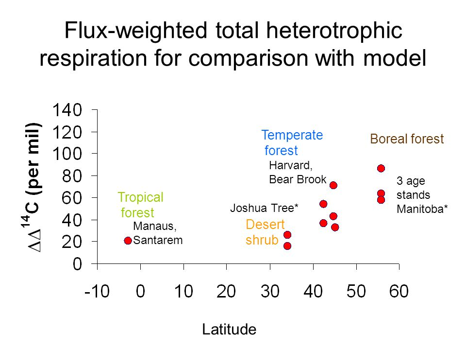 Flux-weighted total heterotrophic respiration for comparison with model Tropical forest Desert shrub Temperate forest Boreal forest Manaus, Santarem Joshua Tree* Harvard, Bear Brook 3 age stands Manitoba* Latitude