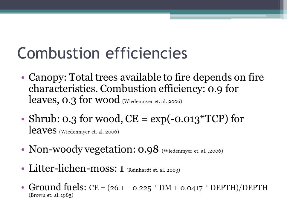 Combustion efficiencies Canopy: Total trees available to fire depends on fire characteristics. Combustion efficiency: 0.9 for leaves, 0.3 for wood (Wi