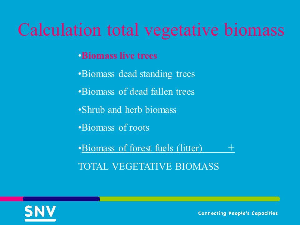 Calculation total vegetative biomass Biomass live trees Biomass dead standing trees Biomass of dead fallen trees Shrub and herb biomass Biomass of roots Biomass of forest fuels (litter) + TOTAL VEGETATIVE BIOMASS