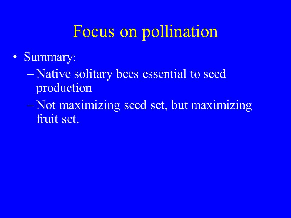 Focus on pollination Summary : –Native solitary bees essential to seed production –Not maximizing seed set, but maximizing fruit set.