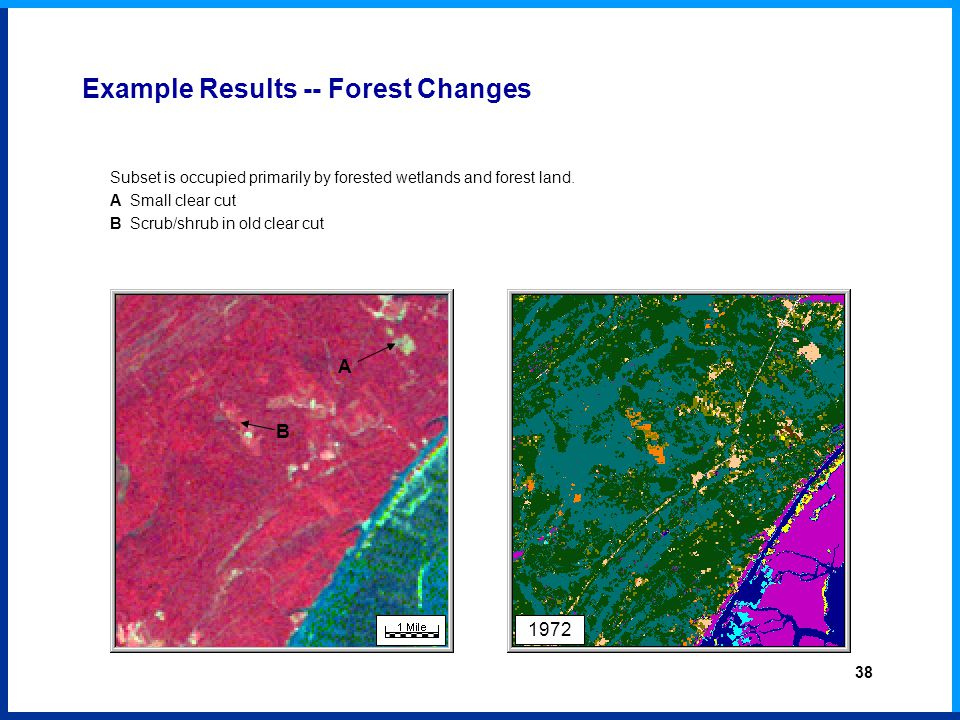 1972 Example Results -- Forest Changes Subset is occupied primarily by forested wetlands and forest land.