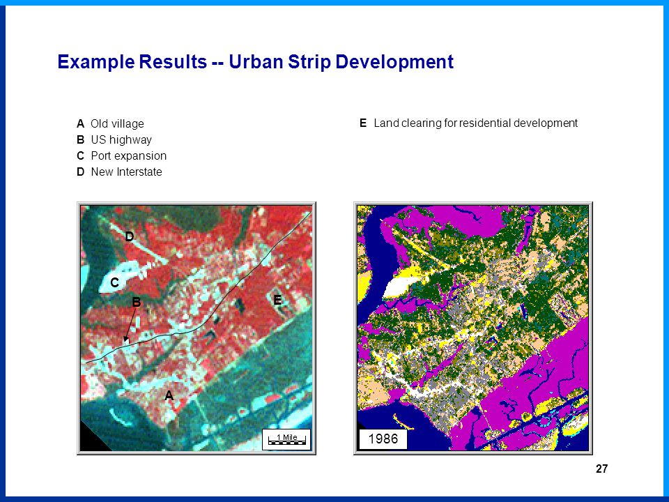 A Old village B US highway C Port expansion D New Interstate E Land clearing for residential development 1986 B A C D E Example Results -- Urban Strip Development 27