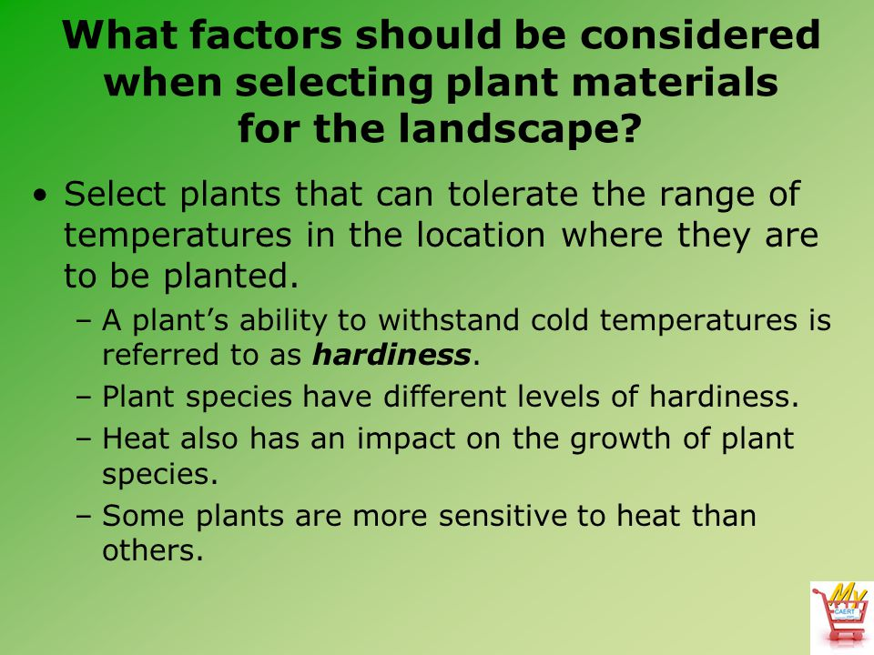 What factors should be considered when selecting plant materials for the landscape? Select plants that can tolerate the range of temperatures in the l