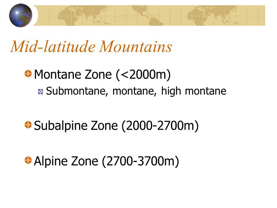 Montane Zone (<2000m) Submontane, montane, high montane Subalpine Zone (2000-2700m) Alpine Zone (2700-3700m)