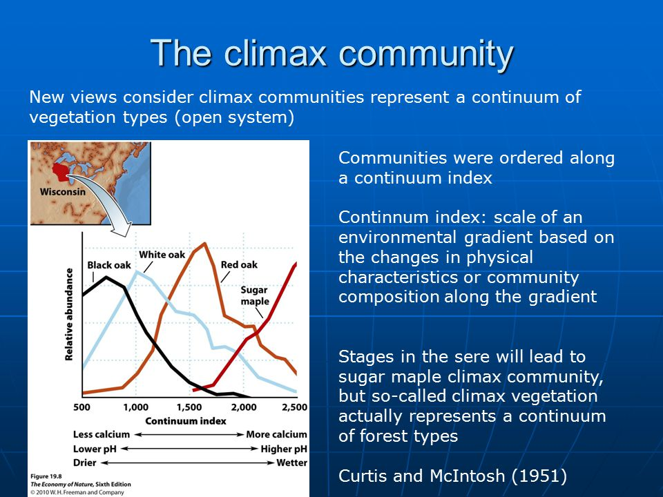 The climax community New views consider climax communities represent a continuum of vegetation types (open system) Communities were ordered along a continuum index Continnum index: scale of an environmental gradient based on the changes in physical characteristics or community composition along the gradient Stages in the sere will lead to sugar maple climax community, but so-called climax vegetation actually represents a continuum of forest types Curtis and McIntosh (1951)