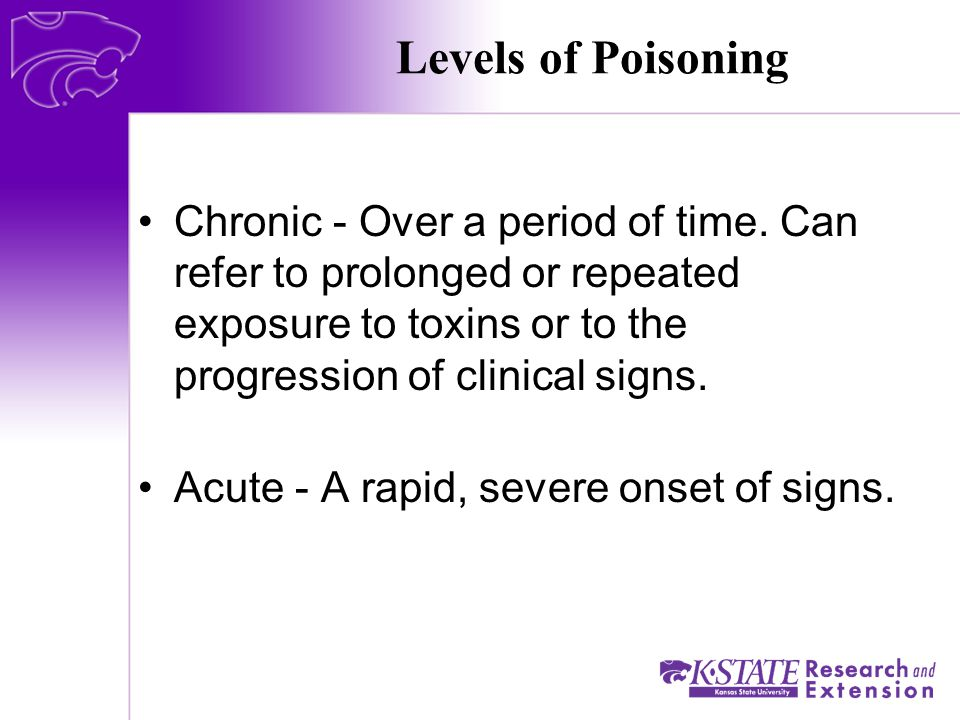 Levels of Poisoning Chronic - Over a period of time.