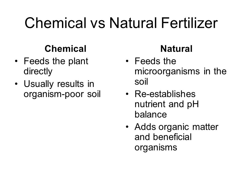 Chemical vs Natural Fertilizer Chemical Feeds the plant directly Usually results in organism-poor soil Natural Feeds the microorganisms in the soil Re-establishes nutrient and pH balance Adds organic matter and beneficial organisms