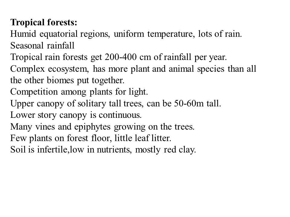 Tropical forests: Humid equatorial regions, uniform temperature, lots of rain. Seasonal rainfall Tropical rain forests get 200-400 cm of rainfall per