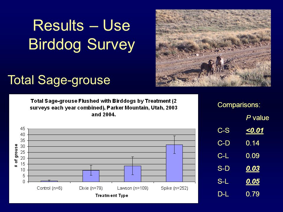 Results – Use Birddog Survey Comparisons: P value C-S <0.01 C-D0.14 C-L0.09 S-D0.03 S-L0.05 D-L0.79 Total Sage-grouse