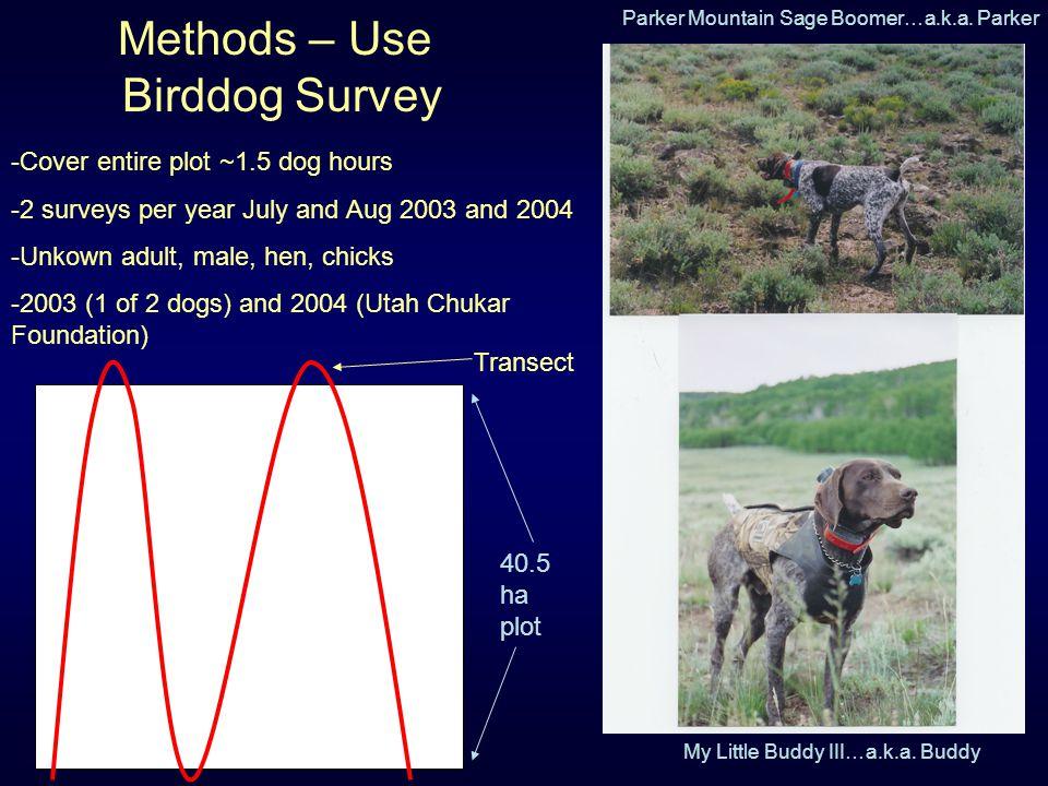 Methods – Use Birddog Survey Parker Mountain Sage Boomer…a.k.a. Parker My Little Buddy III…a.k.a. Buddy 40.5 ha plot Transect -Cover entire plot ~1.5