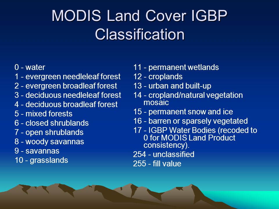 MODIS Land Cover IGBP Classification 0 - water 1 - evergreen needleleaf forest 2 - evergreen broadleaf forest 3 - deciduous needleleaf forest 4 - deciduous broadleaf forest 5 - mixed forests 6 - closed shrublands 7 - open shrublands 8 - woody savannas 9 - savannas 10 - grasslands 11 - permanent wetlands 12 - croplands 13 - urban and built-up 14 - cropland/natural vegetation mosaic 15 - permanent snow and ice 16 - barren or sparsely vegetated 17 - IGBP Water Bodies (recoded to 0 for MODIS Land Product consistency).
